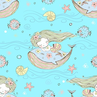 Simpatica sirenetta che dorme su una balena. vettore.