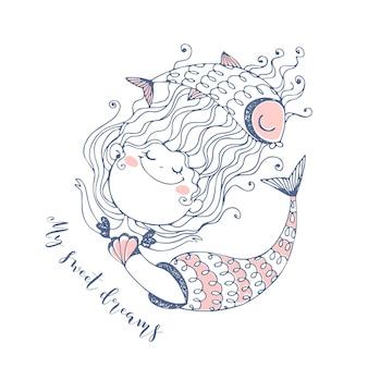 Simpatica sirenetta con pesce. illustrazione vettoriale