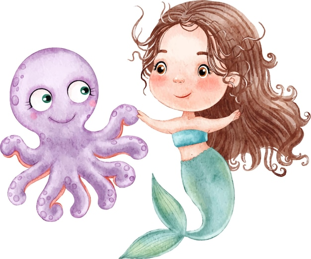 Simpatica sirenetta con i capelli lunghi che balla con un polpo lilla dipinto ad acquerello su fondo bianco
