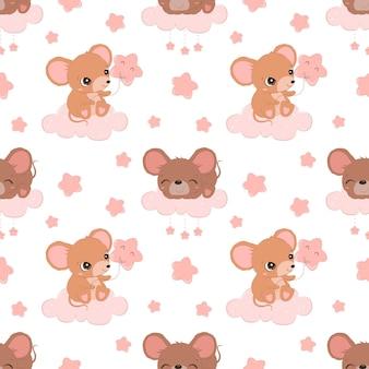 Simpatici topolini senza cuciture per carta da parati in tessuto per bambini e molti altri