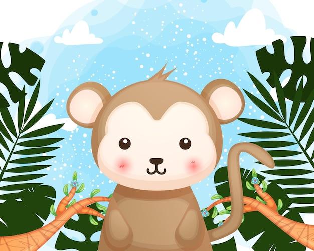 Cartone animato carino scimmietta