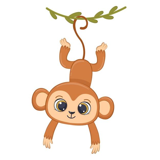 Piccola scimmia sveglia che appende sulla liana cartoon