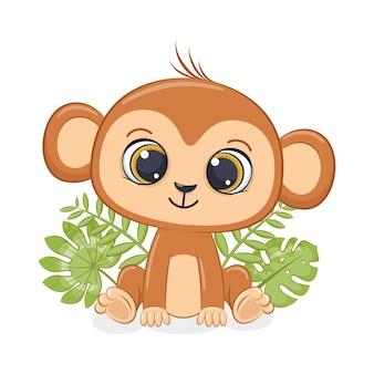 La piccola scimmia sveglia è seduta davanti al fogliame tropicale