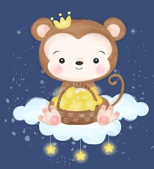 Piccola scimmia sveglia che gioca con la stella in acquerello