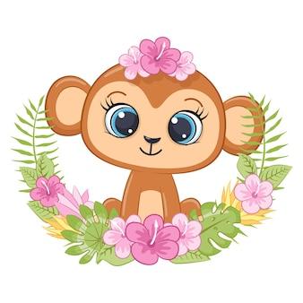 Piccola scimmia sveglia con la corona dei fiori delle hawaii cartoon Vettore Premium