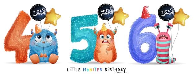 Compleanno sveglio del piccolo mostro con l'illustrazione dell'acquerello