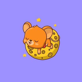 Piccolo topo sveglio che dorme sopra il formaggio a forma di luna