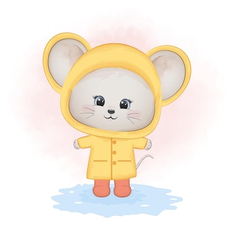 Piccolo topo sveglio che indossa acquerello animale impermeabile