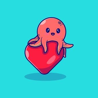 Simpatico polpo illustrazione vettoriale design che abbraccia il palloncino d'amore