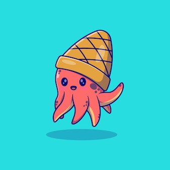 Simpatico polpo illustrazione vettoriale design con cappello a cono