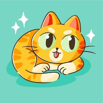 Carino piccolo gattino arancione mascotte doodle illustrazione asset