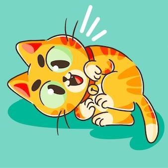 Carino piccolo gattino arancione che gioca mascotte doodle illustrazione asset