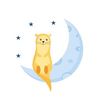 Una simpatica lontra siede sulla luna illustrazione vettoriale per l'asilo