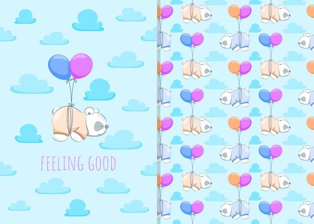 Simpatico cartone animato piccolo panda con palloncino, illustrazioni e seamless per bambini