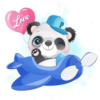 Piccolo panda sveglio che vola con l'aeroplano