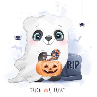 Piccolo panda sveglio per il giorno di halloween con l'illustrazione dell'acquerello