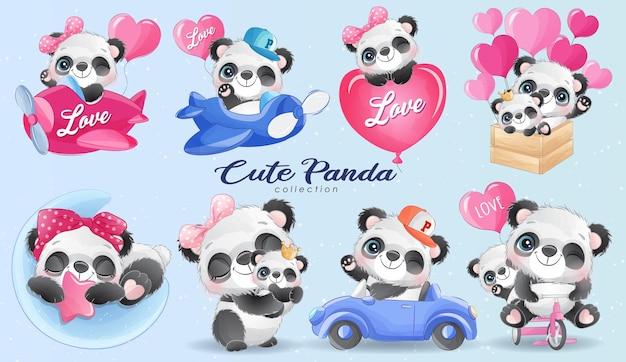 Piccola vita sveglia del panda con l'insieme dell'illustrazione dell'acquerello
