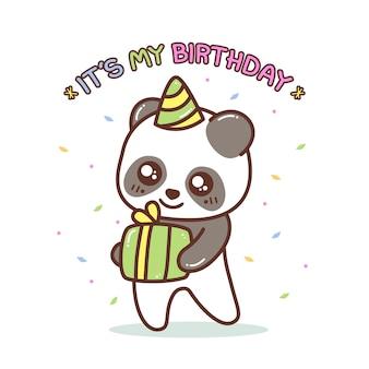 Piccolo panda sveglio con l'illustrazione del regalo di compleanno
