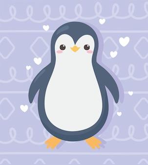 I cuori del fumetto del piccolo pinguino sveglio amano l'illustrazione adorabile di vettore