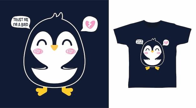 Simpatico disegno della maglietta del piccolo pinguino