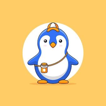 Carino piccolo pinguino indossare cappello e bevanda bottiglia contorno illustrazione mascotte