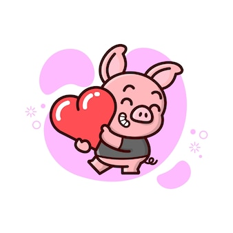 Piccolo maiale sveglio porta un cuore e sentirsi così felice. giorno di san valentino