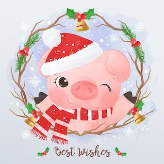 Illustrazione sveglia del piccolo maiale per la cartolina d'auguri di natale