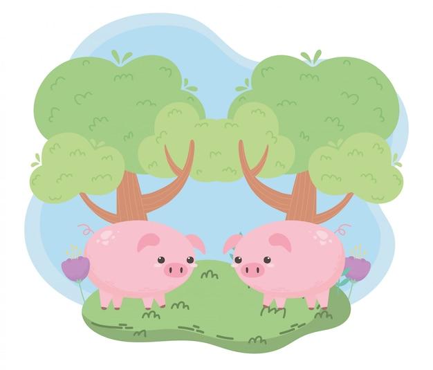 Simpatici maialini e animali del fumetto dell'albero in un paesaggio naturale