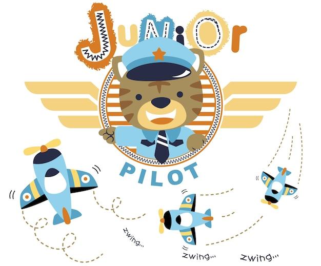 Carino piccolo pilota di cartone animato con gli aerei