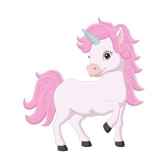 Simpatico cartone animato di unicorno rosa
