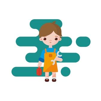 Piccolo ragazzo sveglio dell'idraulico. ragazzo dell'idraulico isolato. illustrazione. ragazzo idraulico con strumenti nelle mani.