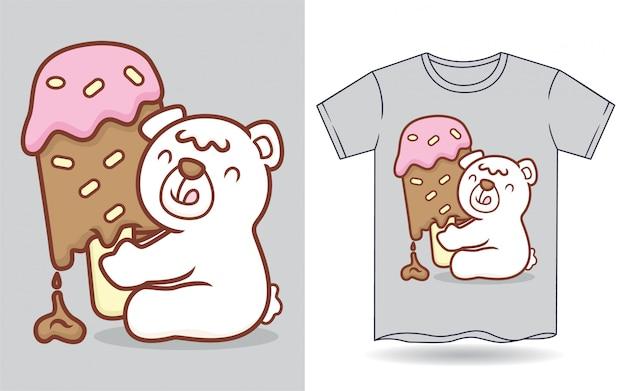Piccolo orso polare sveglio che tiene la grande illustrazione del gelato del lecca lecca per la maglietta