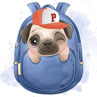 Carlino piccolo sveglio che si siede dentro la borsa