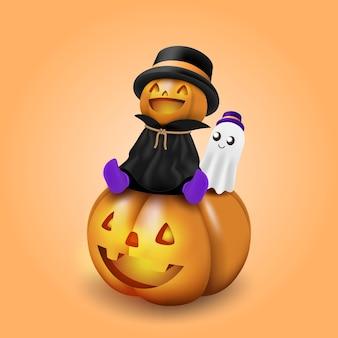 Una simpatica testa di zucca mascotte di halloween si siede e sorride su un'enorme zucca intagliata con uno spirito bianco allegro che galleggia accanto ad essa.