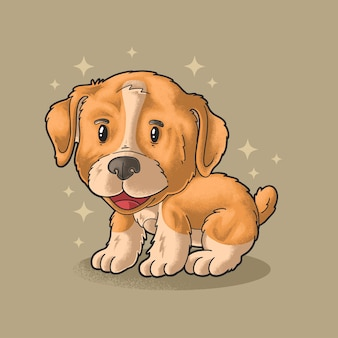 Carino, piccolo cucciolo, illustrazione, vettore, grunge, style