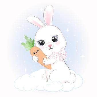 Carino piccolo coniglio e carota sulla nuvola