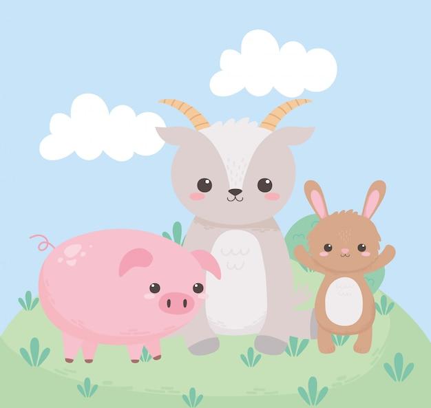 Carino piccolo coniglio capra e maiale erba animali del fumetto in un paesaggio naturale
