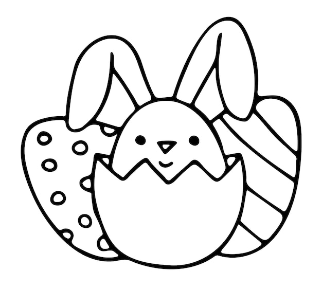 Simpatico coniglietto guarda fuori dal guscio d'uovo