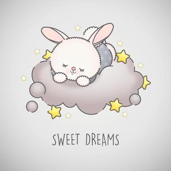Piccolo coniglio sveglio che dorme su una nuvola