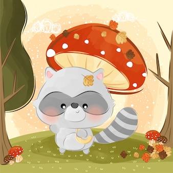 Simpatico piccolo ombrello di procione e funghi