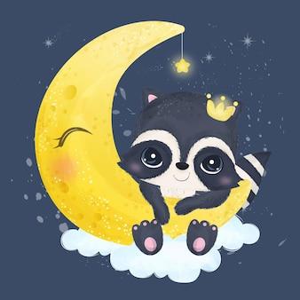 Piccolo procione sveglio che gioca con la luna in acquerello