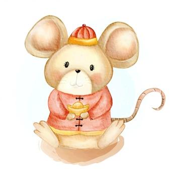 Nuovo anno cinese felice dell'acquerello sveglio dell'illustrazione del piccolo ratto