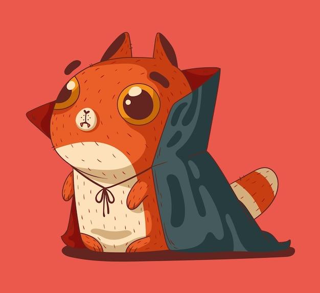 Un simpatico gattino rosso vestito per halloween con un costume da dracula