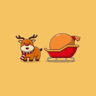 Simpatico disegno di illustrazione vettoriale di renne con carrozza piena di regali di natale