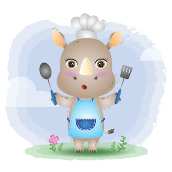 Un simpatico chef rinoceronte