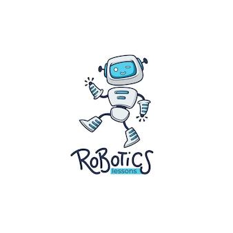 Simpatiche lezioni educative di piccoli robot. modello di logo con composizione scritta