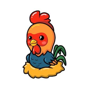 Simpatico cartone animato gallo seduto in un nido