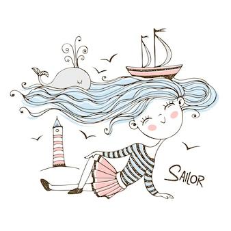 Ragazza carina marinaio. con un oceano di capelli su cui nuotano le navi e una balena.