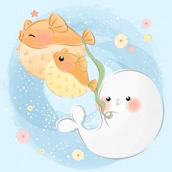 Simpatici animaletti di mare che giocano