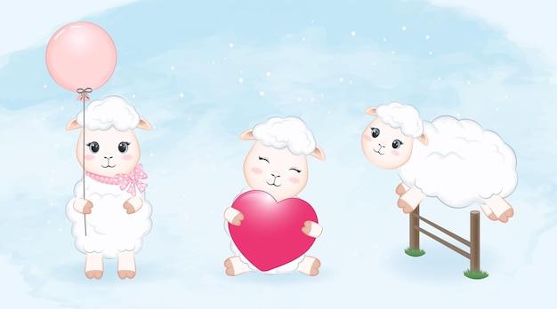 Illustrazione stabilita dell'acquerello delle piccole pecore sveglie
